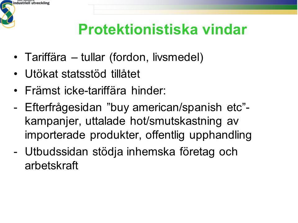 """Protektionistiska vindar Tariffära – tullar (fordon, livsmedel) Utökat statsstöd tillåtet Främst icke-tariffära hinder: -Efterfrågesidan """"buy american"""