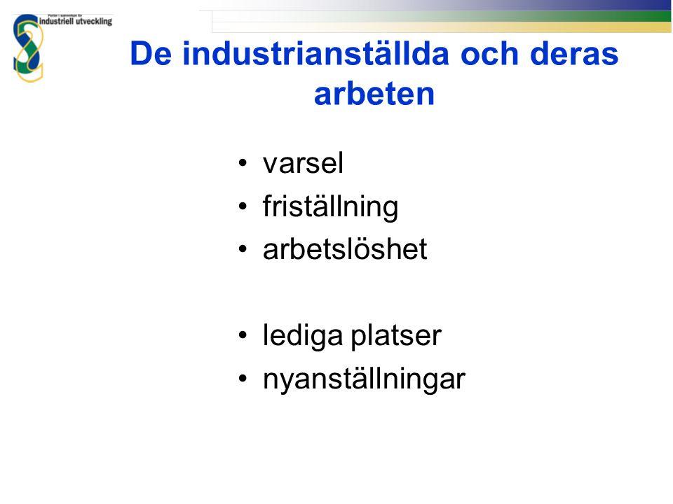De industrianställda och deras arbeten varsel friställning arbetslöshet lediga platser nyanställningar