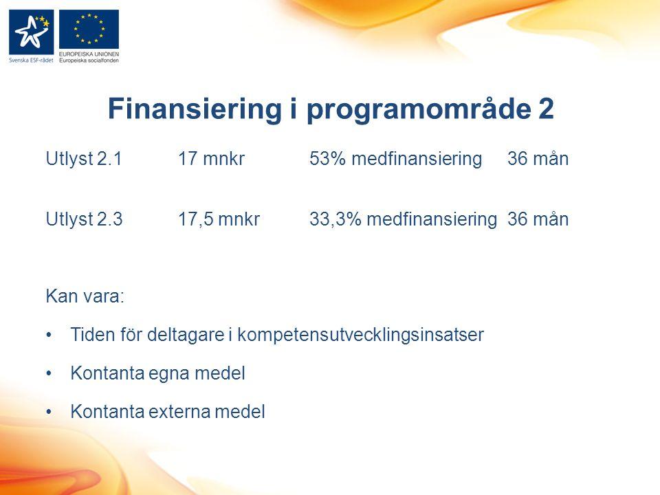 Finansiering i programområde 2 Utlyst 2.117 mnkr53% medfinansiering36 mån Utlyst 2.317,5 mnkr33,3% medfinansiering36 mån Kan vara: Tiden för deltagare i kompetensutvecklingsinsatser Kontanta egna medel Kontanta externa medel