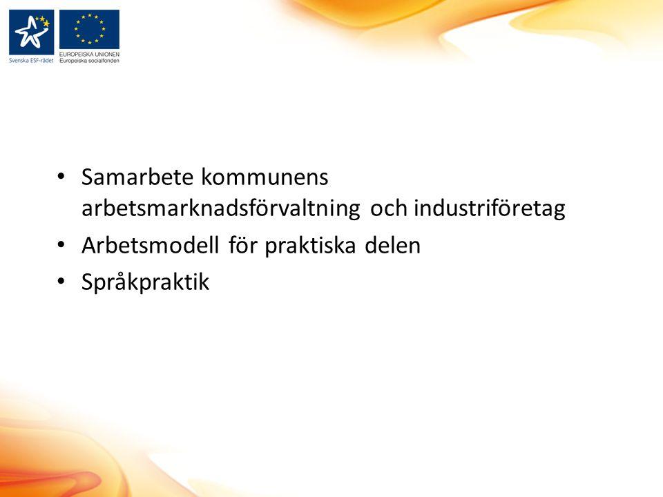 Samarbete kommunens arbetsmarknadsförvaltning och industriföretag Arbetsmodell för praktiska delen Språkpraktik