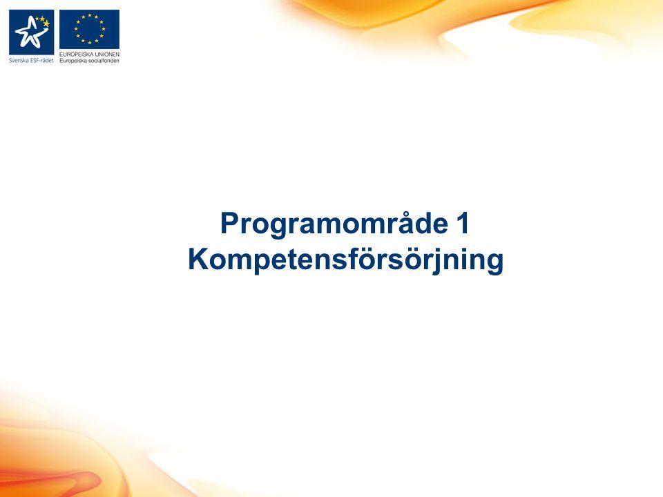 Programområde 1 Kompetensförsörjning