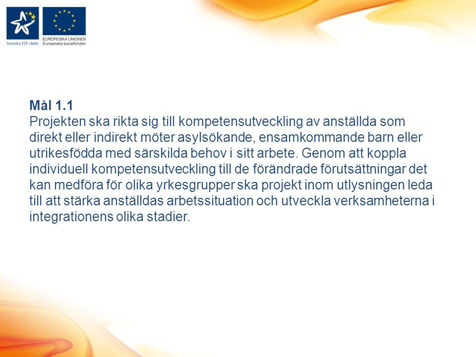 Mål 1.1 Projekten ska rikta sig till kompetensutveckling av anställda som direkt eller indirekt möter asylsökande, ensamkommande barn eller utrikesfödda med särskilda behov i sitt arbete.