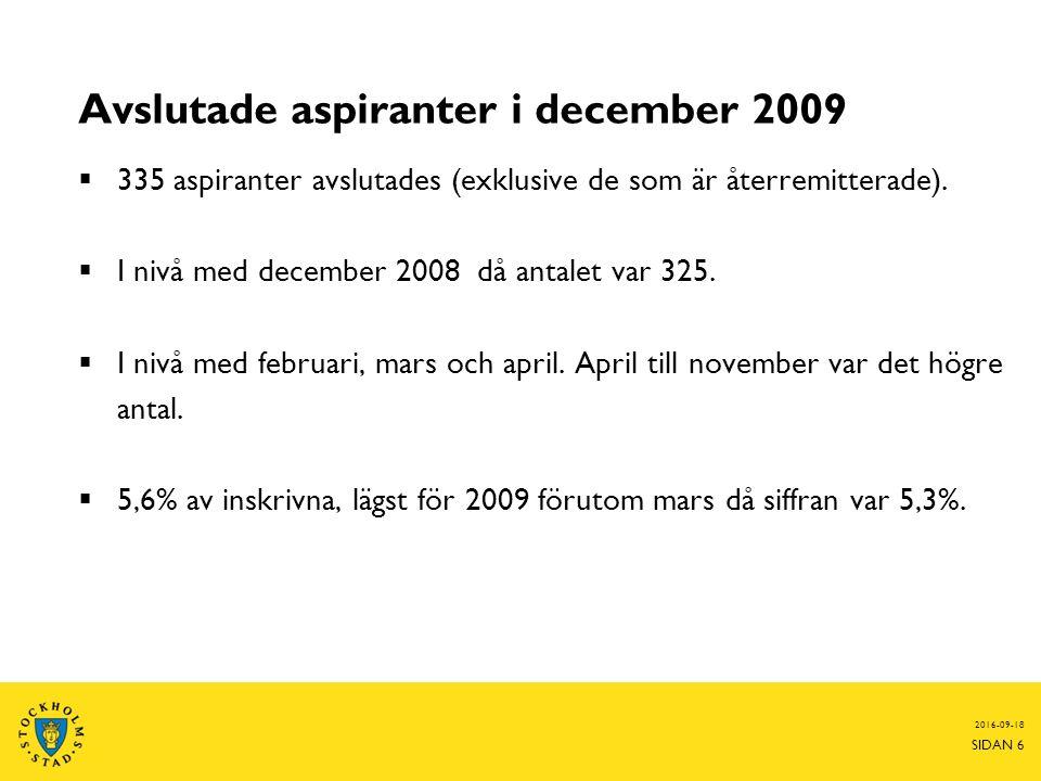 Avslutade aspiranter i december 2009  335 aspiranter avslutades (exklusive de som är återremitterade).