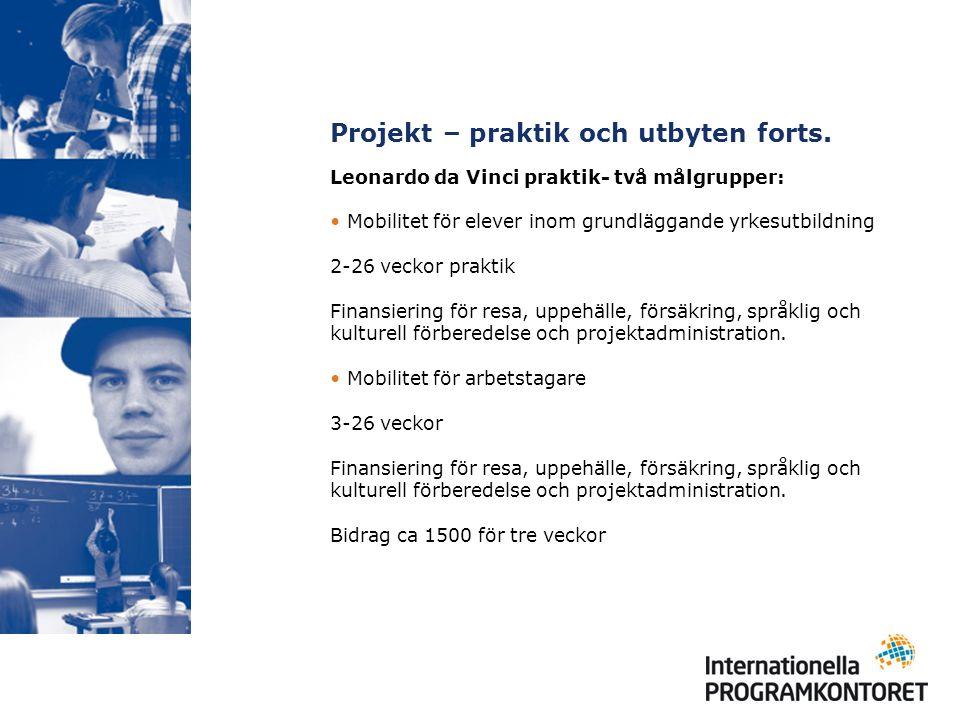 Projekt – praktik och utbyten forts.