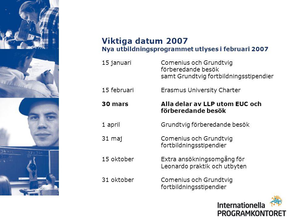 Viktiga datum 2007 Nya utbildningsprogrammet utlyses i februari 2007 15 januari Comenius och Grundtvig förberedande besök samt Grundtvig fortbildnings