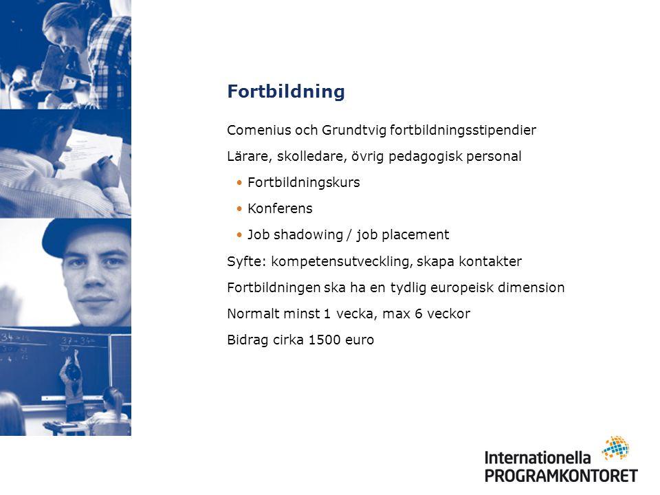 Fortbildning Comenius och Grundtvig fortbildningsstipendier Lärare, skolledare, övrig pedagogisk personal Fortbildningskurs Konferens Job shadowing /
