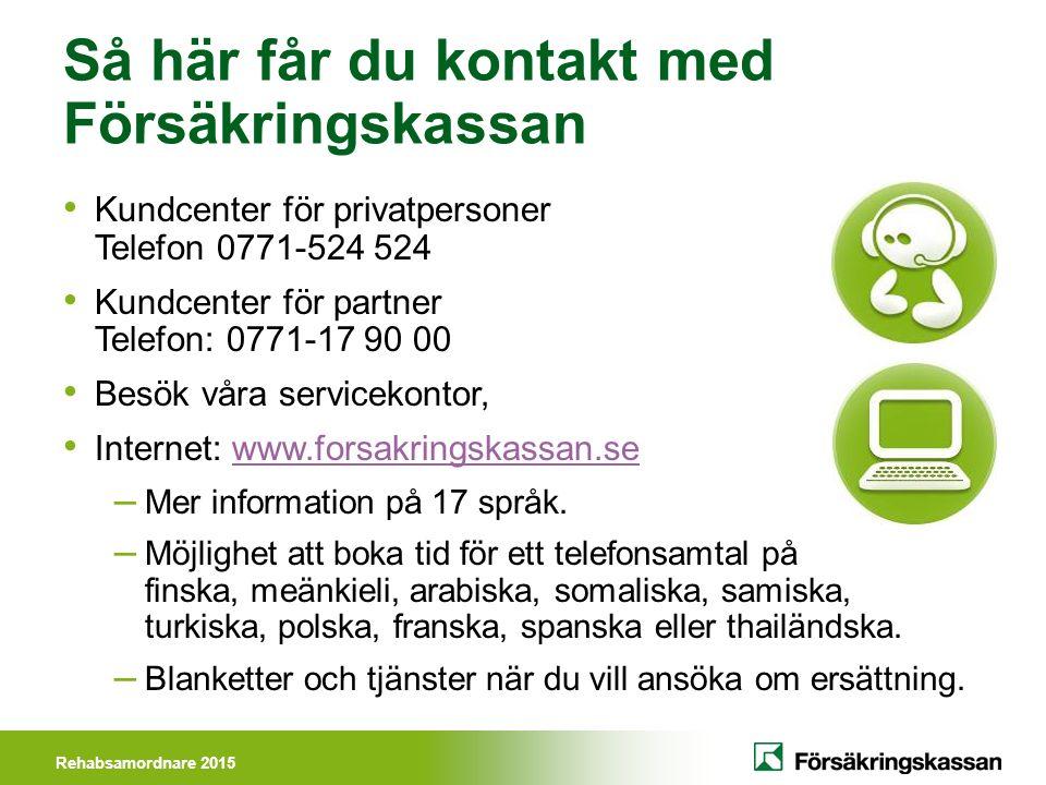 Rehabsamordnare 2015 Så här får du kontakt med Försäkringskassan Kundcenter för privatpersoner Telefon 0771-524 524 Kundcenter för partner Telefon: 07