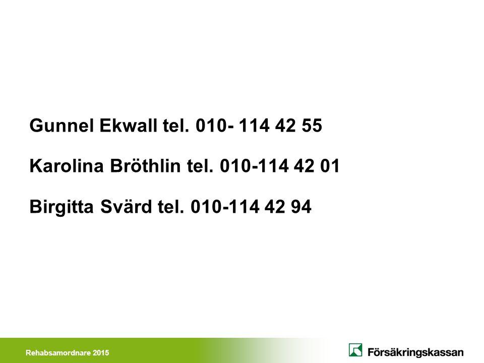 Rehabsamordnare 2015 Gunnel Ekwall tel. 010- 114 42 55 Karolina Bröthlin tel. 010-114 42 01 Birgitta Svärd tel. 010-114 42 94