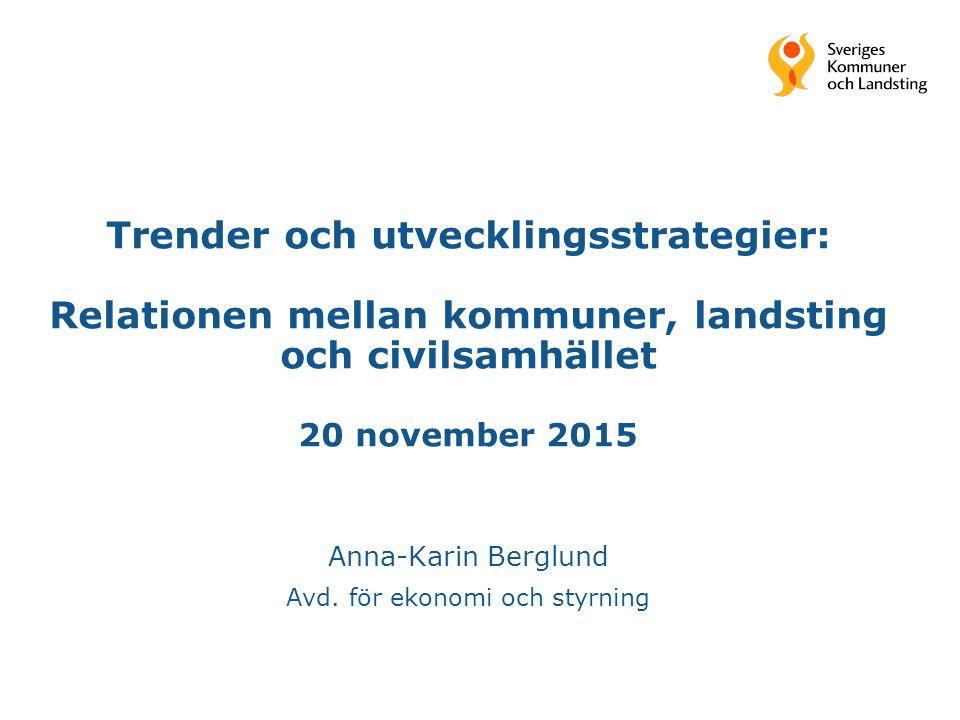 Trender och utvecklingsstrategier: Relationen mellan kommuner, landsting och civilsamhället 20 november 2015 Anna-Karin Berglund Avd. för ekonomi och