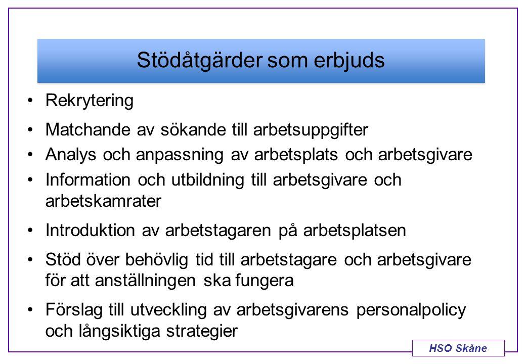 HSO Skåne Stödåtgärder som erbjuds Rekrytering Matchande av sökande till arbetsuppgifter Analys och anpassning av arbetsplats och arbetsgivare Informa