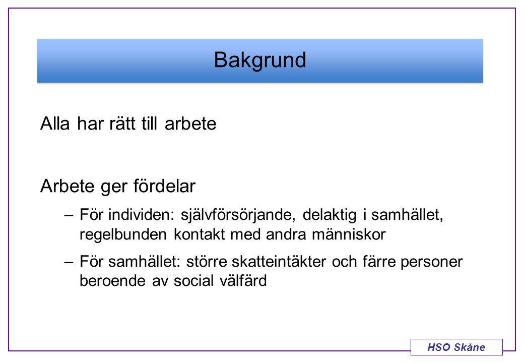 HSO Skåne Bakgrund Alla har rätt till arbete Arbete ger fördelar –För individen: självförsörjande, delaktig i samhället, regelbunden kontakt med andra