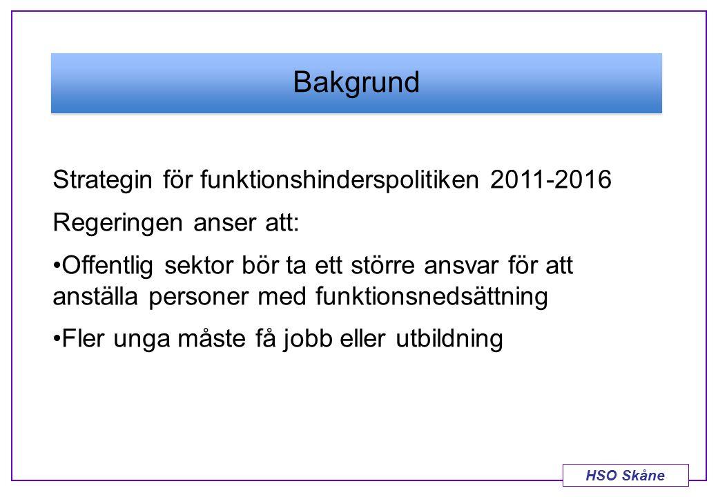 HSO Skåne Bakgrund Strategin för funktionshinderspolitiken 2011-2016 Regeringen anser att: Offentlig sektor bör ta ett större ansvar för att anställa