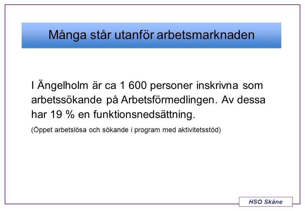 HSO Skåne Många står utanför arbetsmarknaden I Ängelholm är ca 1 600 personer inskrivna som arbetssökande på Arbetsförmedlingen. Av dessa har 19 % en