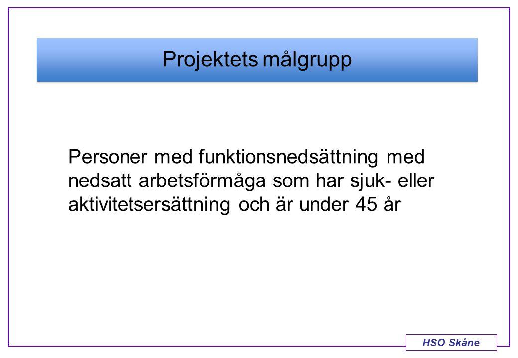 HSO Skåne Projektets målgrupp Personer med funktionsnedsättning med nedsatt arbetsförmåga som har sjuk- eller aktivitetsersättning och är under 45 år