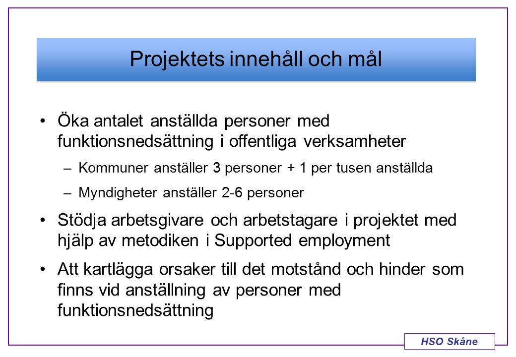 HSO Skåne Projektets innehåll och mål Öka antalet anställda personer med funktionsnedsättning i offentliga verksamheter –Kommuner anställer 3 personer