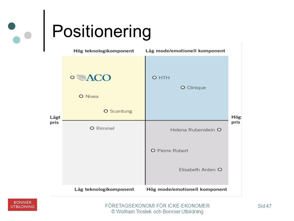 Sid 47 FÖRETAGSEKONOMI FÖR ICKE-EKONOMER © Wolfram Trostek och Bonnier Utbildning Positionering