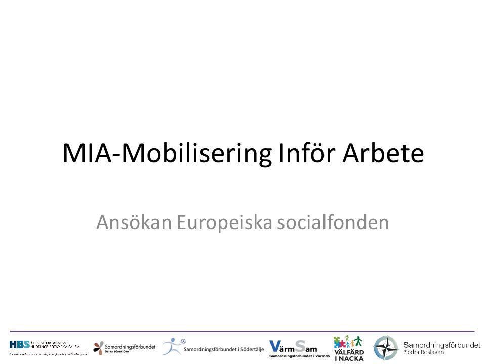 MIA-Mobilisering Inför Arbete Ansökan Europeiska socialfonden