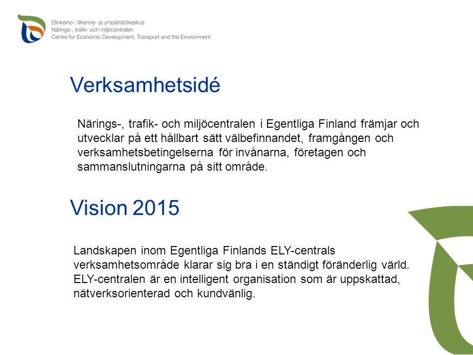 Verksamhetsidé Närings-, trafik- och miljöcentralen i Egentliga Finland främjar och utvecklar på ett hållbart sätt välbefinnandet, framgången och verksamhetsbetingelserna för invånarna, företagen och sammanslutningarna på sitt område.