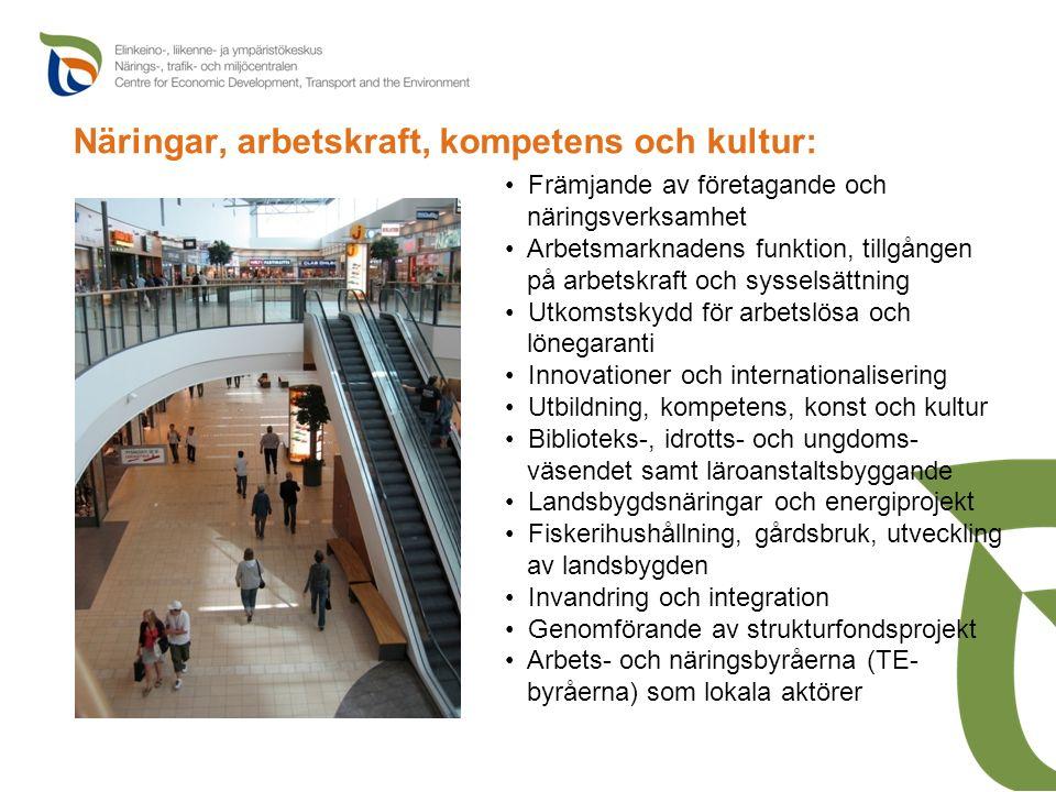 Näringar, arbetskraft, kompetens och kultur: Främjande av företagande och näringsverksamhet Arbetsmarknadens funktion, tillgången på arbetskraft och s
