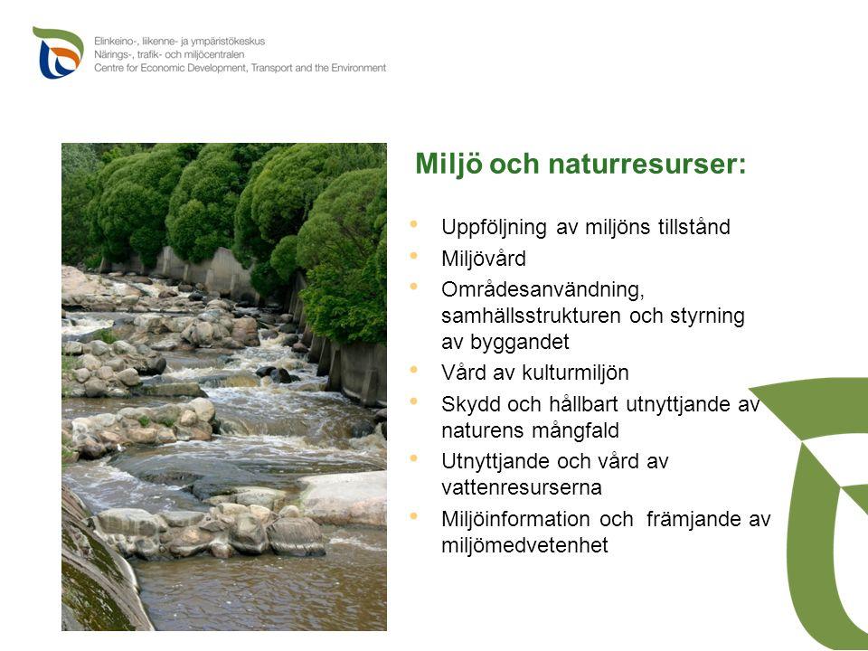 Miljö och naturresurser: Uppföljning av miljöns tillstånd Miljövård Områdesanvändning, samhällsstrukturen och styrning av byggandet Vård av kulturmiljön Skydd och hållbart utnyttjande av naturens mångfald Utnyttjande och vård av vattenresurserna Miljöinformation och främjande av miljömedvetenhet