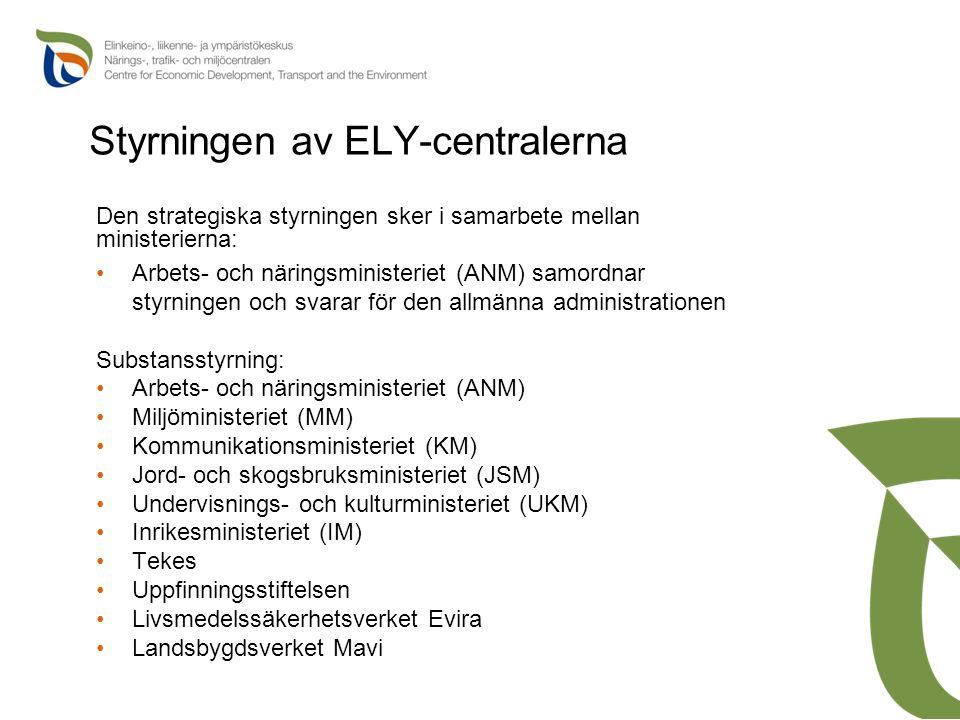 Styrningen av ELY-centralerna Den strategiska styrningen sker i samarbete mellan ministerierna: Arbets- och näringsministeriet (ANM) samordnar styrnin