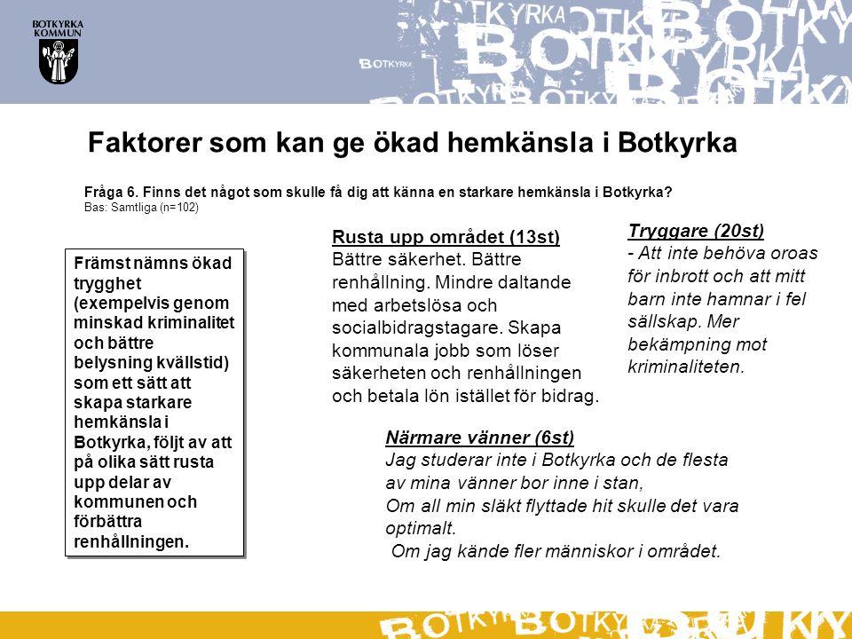 Fråga 6. Finns det något som skulle få dig att känna en starkare hemkänsla i Botkyrka.