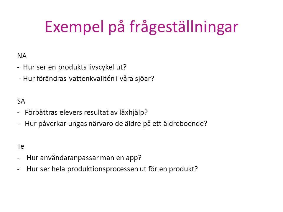 Exempel på frågeställningar NA - Hur ser en produkts livscykel ut? - Hur förändras vattenkvalitén i våra sjöar? SA - Förbättras elevers resultat av lä