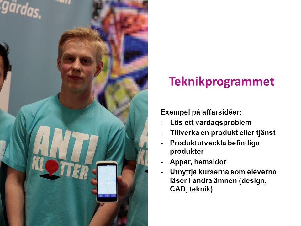Teknikprogrammet Exempel på affärsidéer: -Lös ett vardagsproblem -Tillverka en produkt eller tjänst -Produktutveckla befintliga produkter -Appar, hemsidor -Utnyttja kurserna som eleverna läser i andra ämnen (design, CAD, teknik)