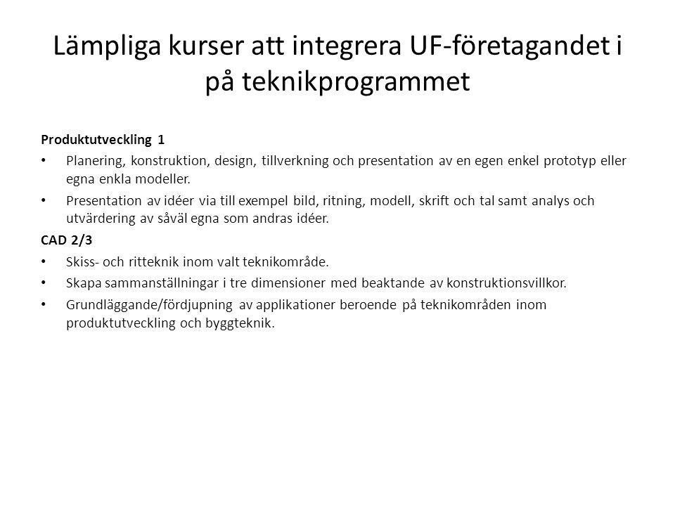 Lämpliga kurser att integrera UF-företagandet i på teknikprogrammet Produktutveckling 1 Planering, konstruktion, design, tillverkning och presentation