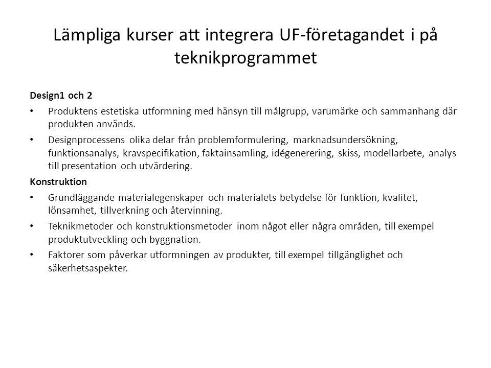 Lämpliga kurser att integrera UF-företagandet i på teknikprogrammet Design1 och 2 Produktens estetiska utformning med hänsyn till målgrupp, varumärke