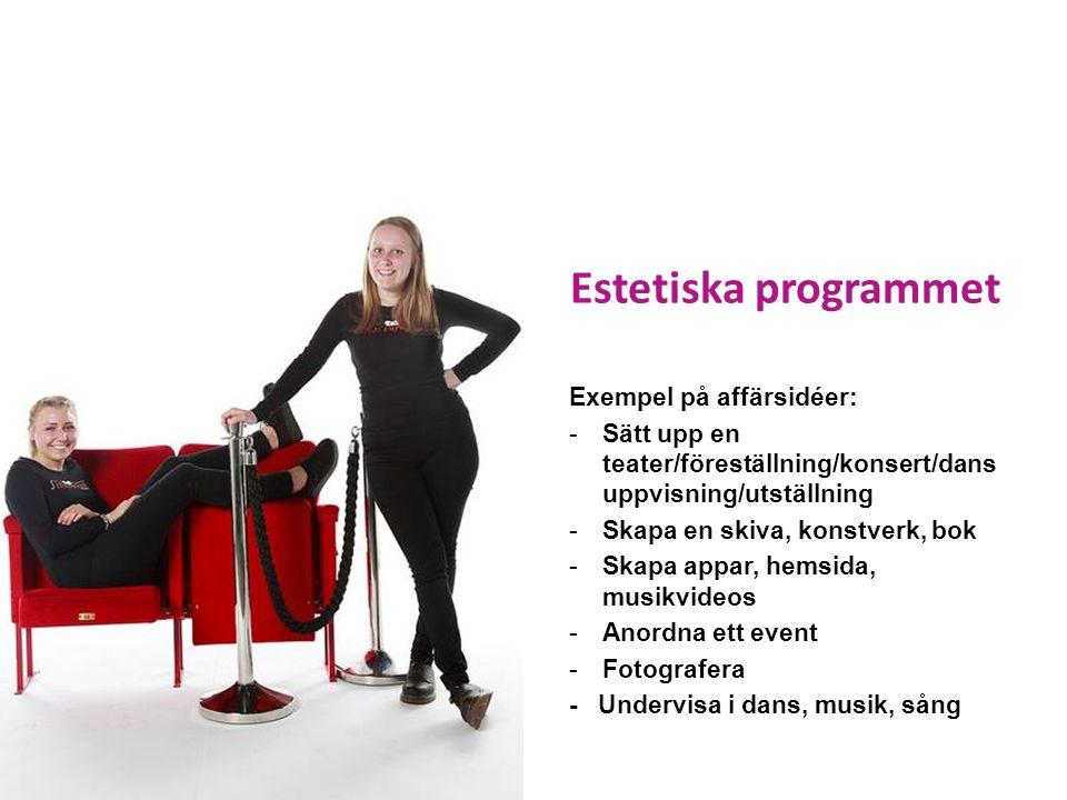 Estetiska programmet Exempel på affärsidéer: -Sätt upp en teater/föreställning/konsert/dans uppvisning/utställning -Skapa en skiva, konstverk, bok -Skapa appar, hemsida, musikvideos -Anordna ett event -Fotografera - Undervisa i dans, musik, sång