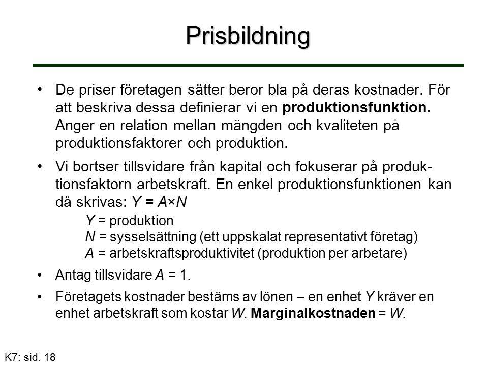 Prisbildning De priser företagen sätter beror bla på deras kostnader. För att beskriva dessa definierar vi en produktionsfunktion. Anger en relation m