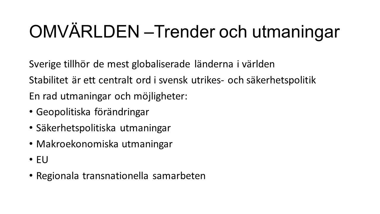 OMVÄRLDEN –Trender och utmaningar Sverige tillhör de mest globaliserade länderna i världen Stabilitet är ett centralt ord i svensk utrikes- och säkerhetspolitik En rad utmaningar och möjligheter: Geopolitiska förändringar Säkerhetspolitiska utmaningar Makroekonomiska utmaningar EU Regionala transnationella samarbeten