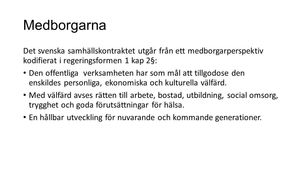 Medborgarna Det svenska samhällskontraktet utgår från ett medborgarperspektiv kodifierat i regeringsformen 1 kap 2§: Den offentliga verksamheten har s
