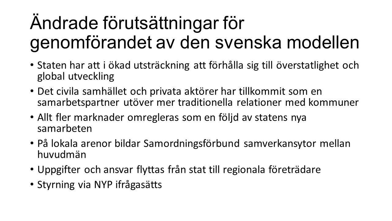 Ändrade förutsättningar för genomförandet av den svenska modellen Staten har att i ökad utsträckning att förhålla sig till överstatlighet och global u