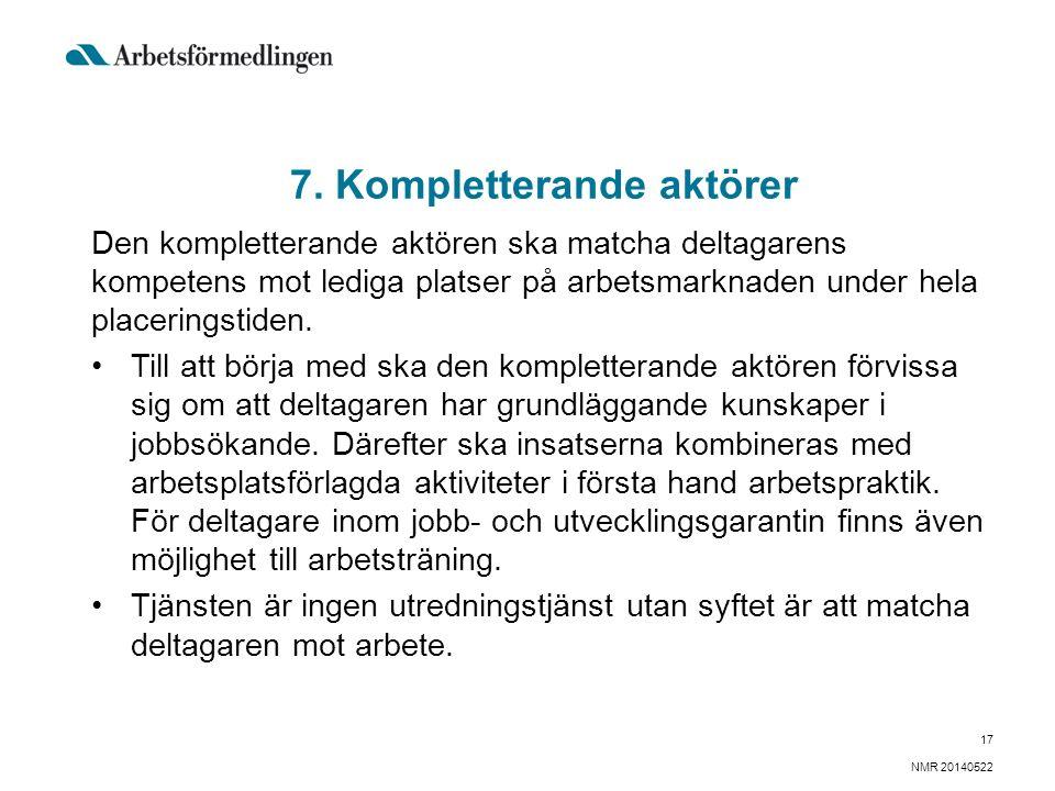 7. Kompletterande aktörer Den kompletterande aktören ska matcha deltagarens kompetens mot lediga platser på arbetsmarknaden under hela placeringstiden