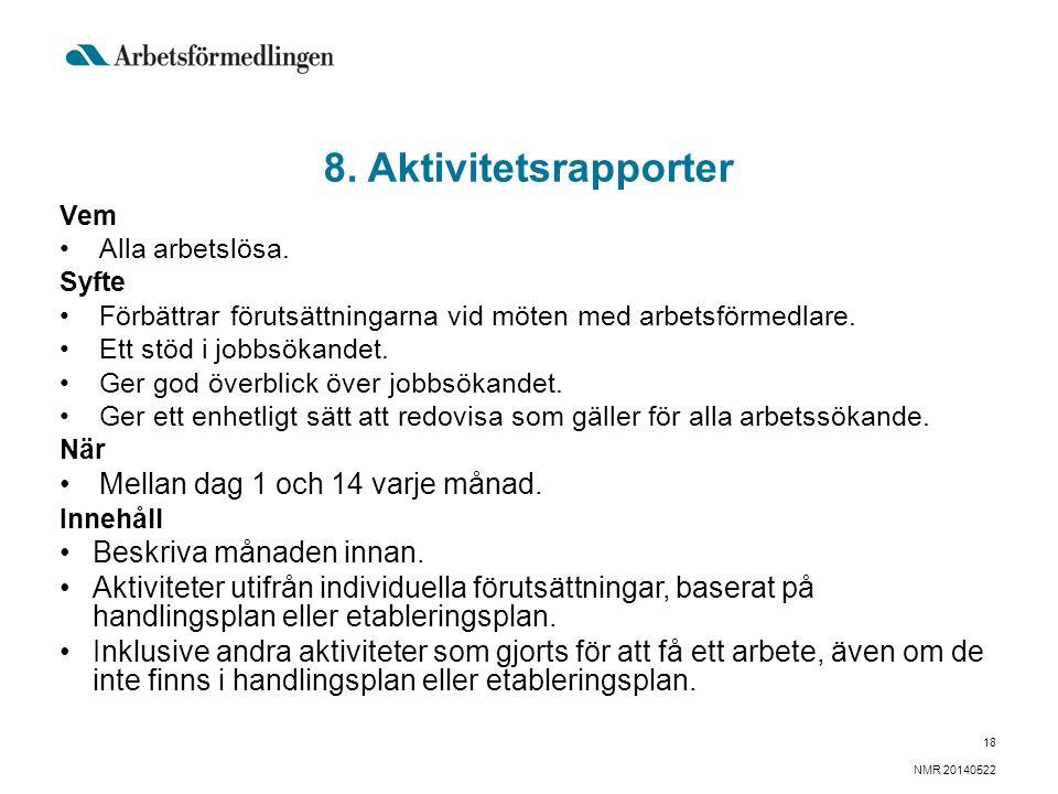 8. Aktivitetsrapporter Vem Alla arbetslösa.