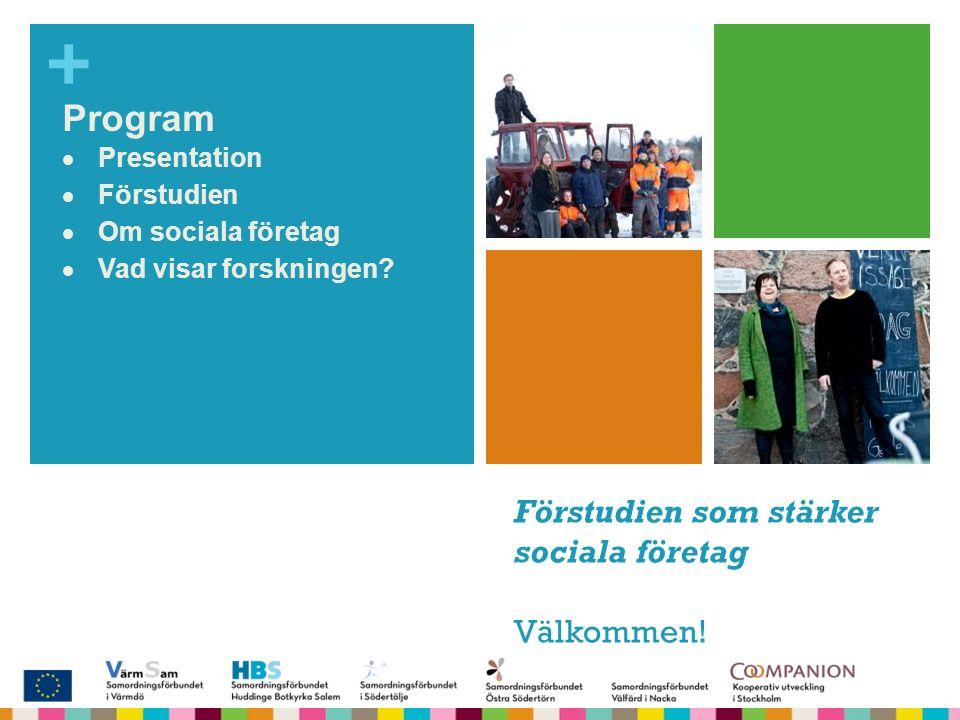 + SamSoc Samordning för socialt företagande Program  Presentation  Förstudien  Om sociala företag  Vad visar forskningen? Förstudien som stärker s