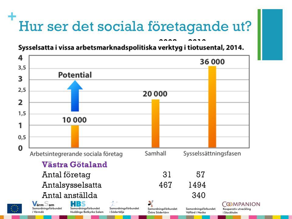 + Hur ser det sociala företagande ut? År200820122013 Antal företag 150 210 310 Antal sysselsatta90009500 Antal anställda25503000 20082012 Stockholm An