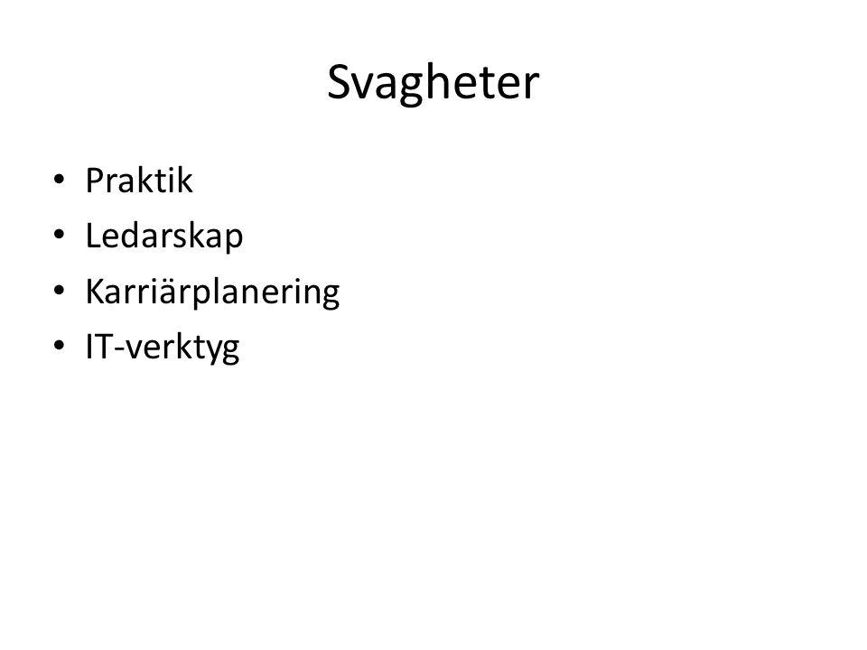 Svagheter Praktik Ledarskap Karriärplanering IT-verktyg