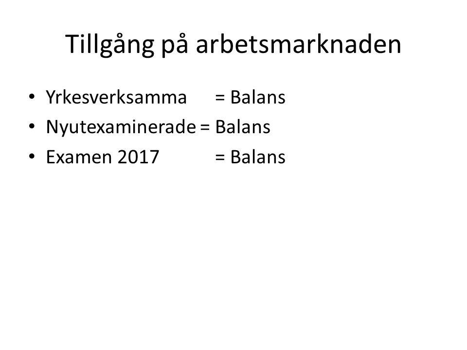 Tillgång på arbetsmarknaden Yrkesverksamma = Balans Nyutexaminerade = Balans Examen 2017 = Balans