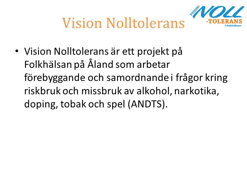 Vision Nolltolerans Vision Nolltolerans är ett projekt på Folkhälsan på Åland som arbetar förebyggande och samordnande i frågor kring riskbruk och missbruk av alkohol, narkotika, doping, tobak och spel (ANDTS).