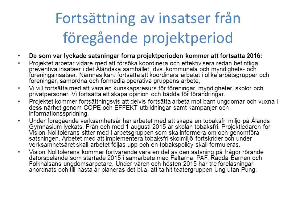 Fortsättning av insatser från föregående projektperiod De som var lyckade satsningar förra projektperioden kommer att fortsätta 2016: Projektet arbetar vidare med att försöka koordinera och effektivisera redan befintliga preventiva insatser i det Åländska samhället, dvs.