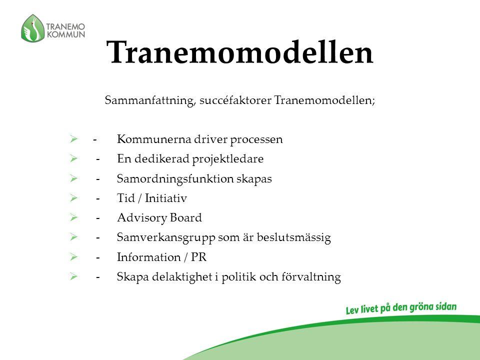Sammanfattning, succéfaktorer Tranemomodellen;  -Kommunerna driver processen  -En dedikerad projektledare  -Samordningsfunktion skapas  -Tid / Ini