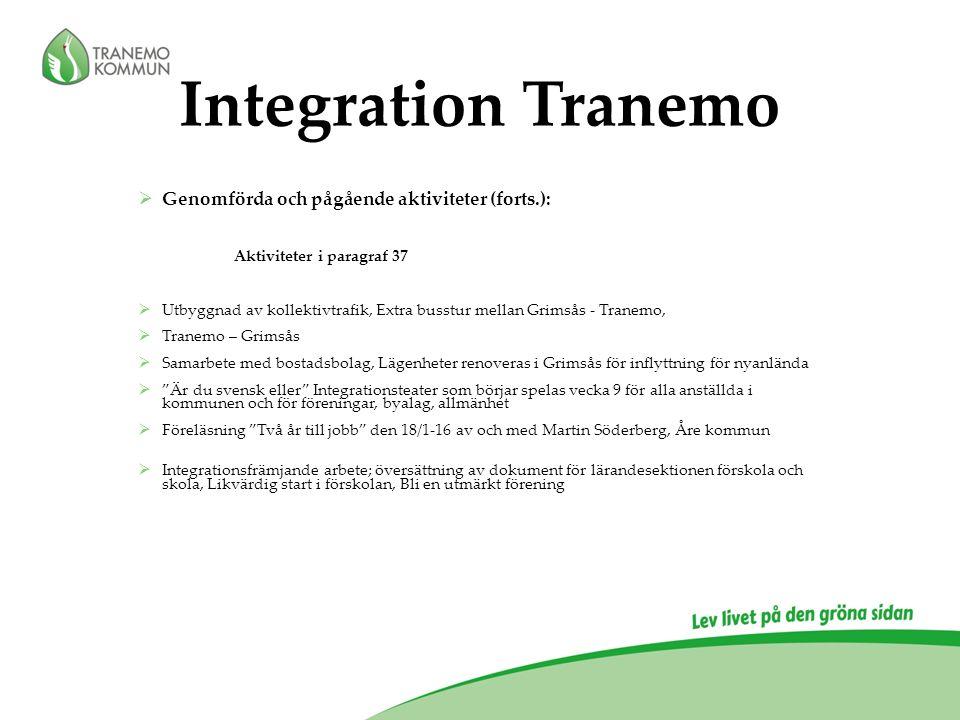 Integration Tranemo  Genomförda och pågående aktiviteter (forts.): Aktiviteter i paragraf 37  Utbyggnad av kollektivtrafik, Extra busstur mellan Gri