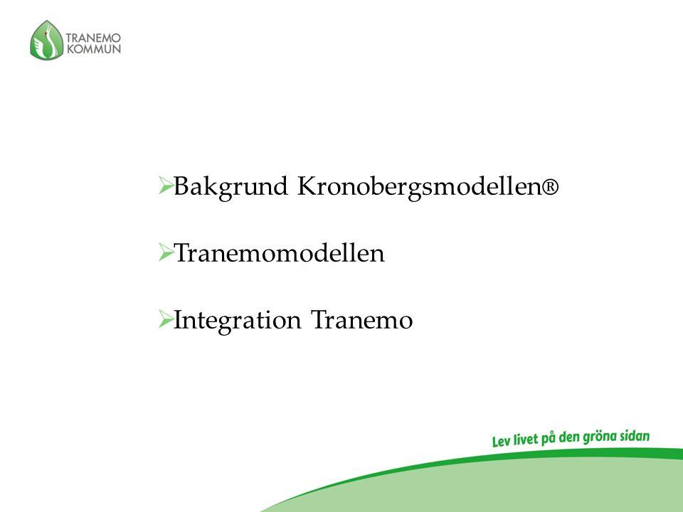 Sammanfattning, succéfaktorer Tranemomodellen;  -Kommunerna driver processen  -En dedikerad projektledare  -Samordningsfunktion skapas  -Tid / Initiativ  -Advisory Board  -Samverkansgrupp som är beslutsmässig  -Information / PR  -Skapa delaktighet i politik och förvaltning