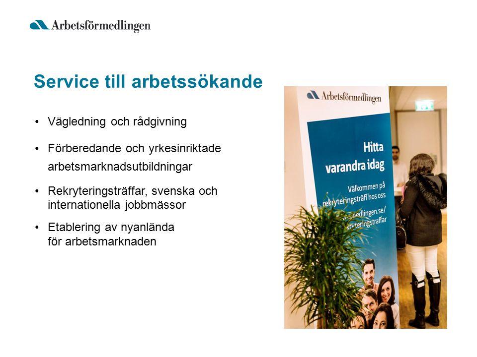 Service till arbetssökande Vägledning och rådgivning Förberedande och yrkesinriktade arbetsmarknadsutbildningar Rekryteringsträffar, svenska och internationella jobbmässor Etablering av nyanlända för arbetsmarknaden