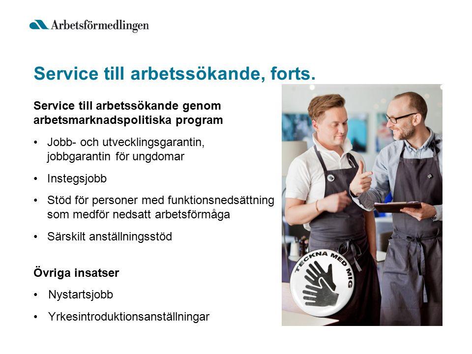 Service till arbetssökande, forts. Service till arbetssökande genom arbetsmarknadspolitiska program Jobb- och utvecklingsgarantin, jobbgarantin för un