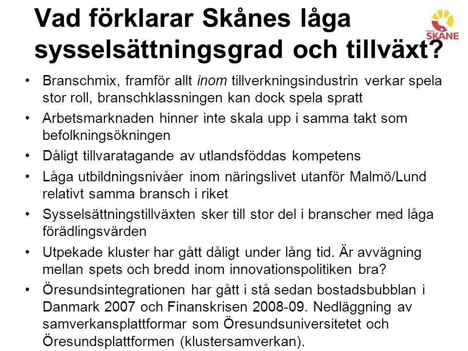 Vad förklarar Skånes låga sysselsättningsgrad och tillväxt.