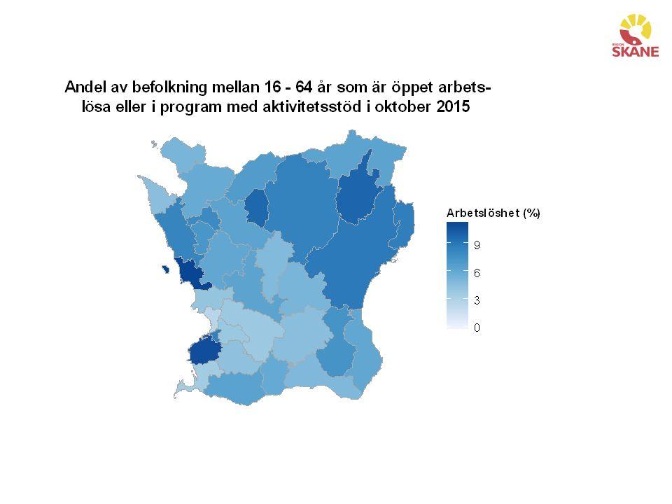 Sammanfattning sysselsättning Skåne har en stark sysselsättningstillväxt, men även en stark befolkningstillväxt.